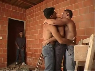 Lewd muscled construction workers after work threesome fucking | fucking   muscular   threesome   works male
