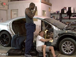 White gay mechanic gets black fucked at work | black tv   fucking   gays tube   getting   interracial   white